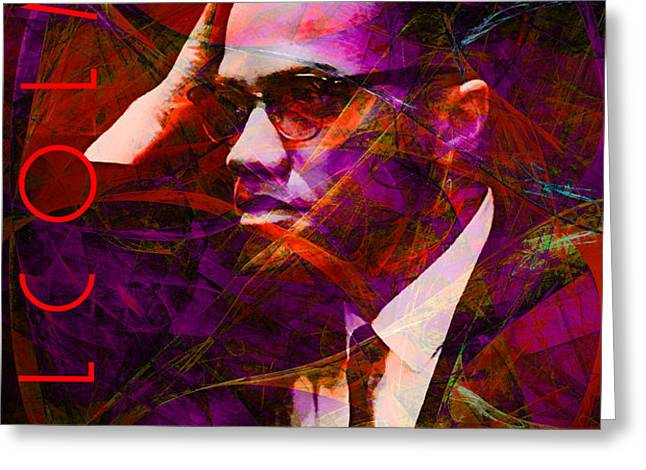 Malcolm X 20140105m28 with text Greeting Card by Wingsdomain Art and Photography