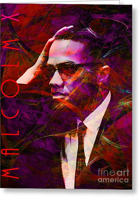 African American History Greeting Cards - Malcolm X 20140105m28 with text Greeting Card by Wingsdomain Art and Photography