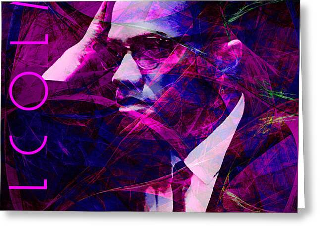Malcolm X 20140105m88 with text Greeting Card by Wingsdomain Art and Photography
