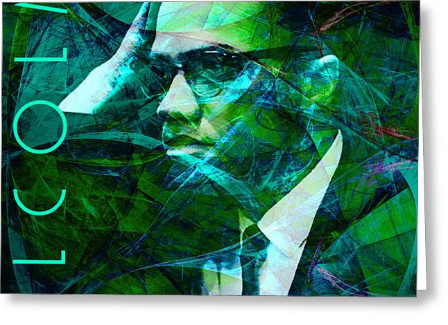 Malcolm X 20140105p138 with text Greeting Card by Wingsdomain Art and Photography