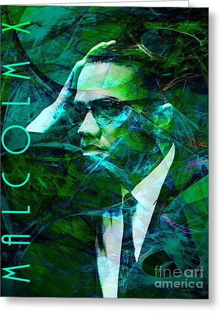 Malcolm X Greeting Cards - Malcolm X 20140105p138 with text Greeting Card by Wingsdomain Art and Photography