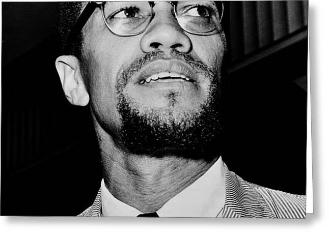 Malcolm X Greeting Card by Benjamin Yeager