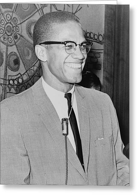 Black Leaders. Greeting Cards - Malcolm X Greeting Card by Ed Ford