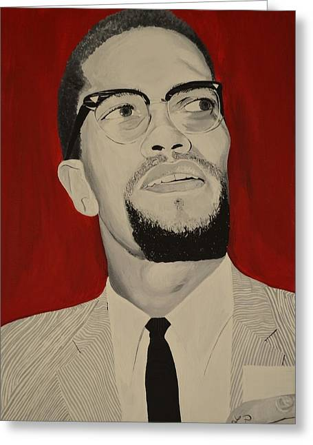 Malcolm X Greeting Card by Lakeisha Phillips
