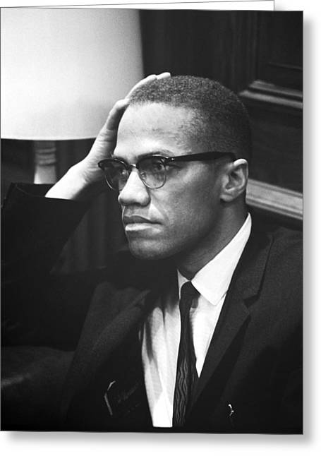 Human Rights Leader Greeting Cards - Malcolm X Greeting Card by Marion S. Trikosko