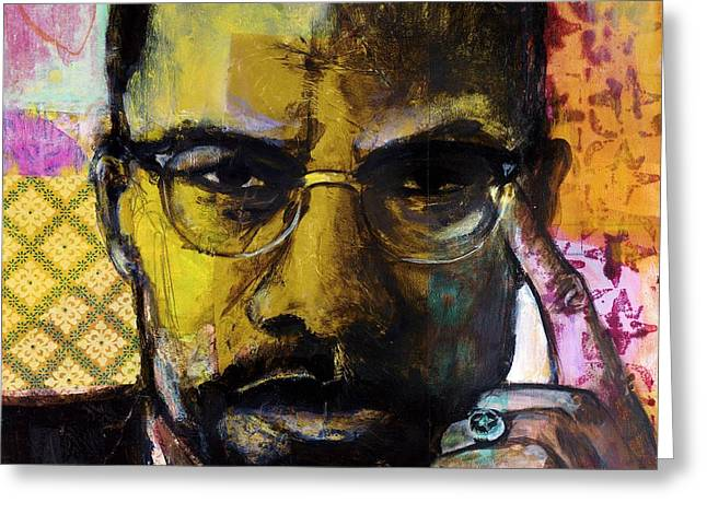 Human Rights Leader Greeting Cards - Malcolm X Greeting Card by Melinda Jones