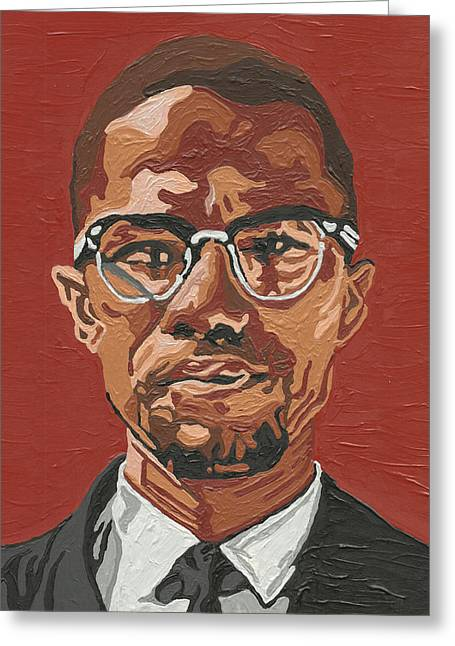 Shabazz Greeting Cards - Malcolm X Greeting Card by Rachel Natalie Rawlins