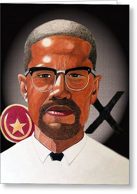 African-american Drawings Greeting Cards - Malcolm X Greeting Card by Victor Carrington