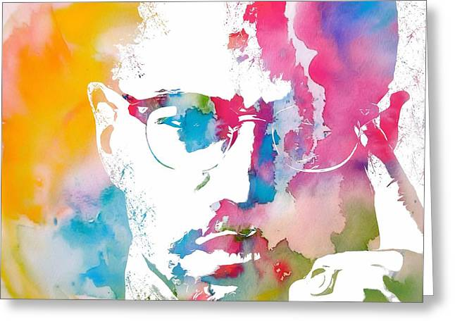 Culture Mixed Media Greeting Cards - Malcolm X Watercolor Greeting Card by Dan Sproul