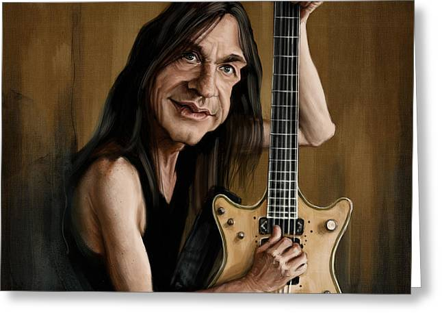 Malcolm Young Greeting Card by Andre Koekemoer