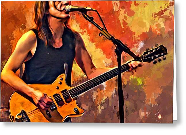 Digital Designs Greeting Cards - Malcolm Young Portrait Greeting Card by Scott Wallace