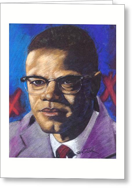 African-americans Pastels Greeting Cards - Malcom Greeting Card by Sam Finch