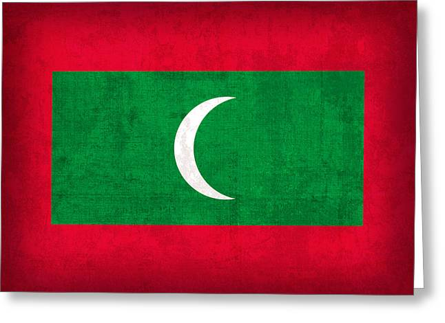National Symbol Greeting Cards - Maldives Flag Vintage Distressed Finish Greeting Card by Design Turnpike