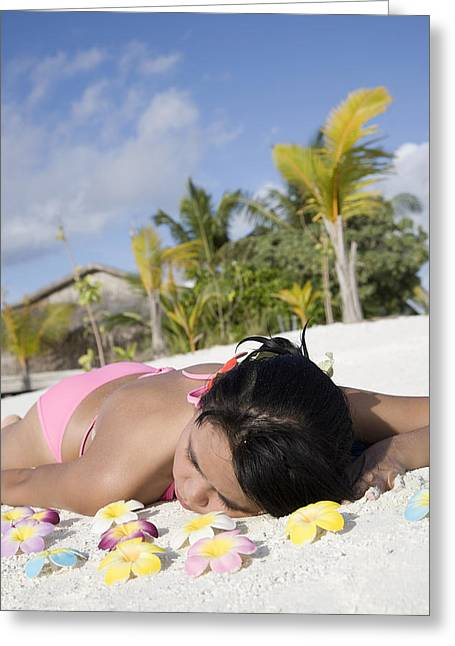 Suntanning Greeting Cards - Maldives, South Male Atoll, Asian Woman Greeting Card by Tips Images