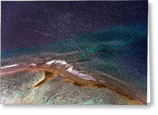 Unique View Greeting Cards - Maldivian Coral Reefs. Ocean treasure. Aerial Journey over Maldives Greeting Card by Jenny Rainbow