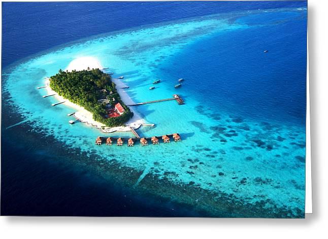 Maldivian Greeting Cards - Maldivian Resort. Aerial Journey over Maldives  Greeting Card by Jenny Rainbow