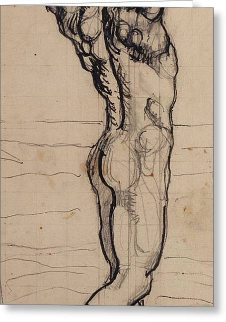 Stretching Drawings Greeting Cards - Male Act   Study for the Truth Greeting Card by Ferdninand Hodler