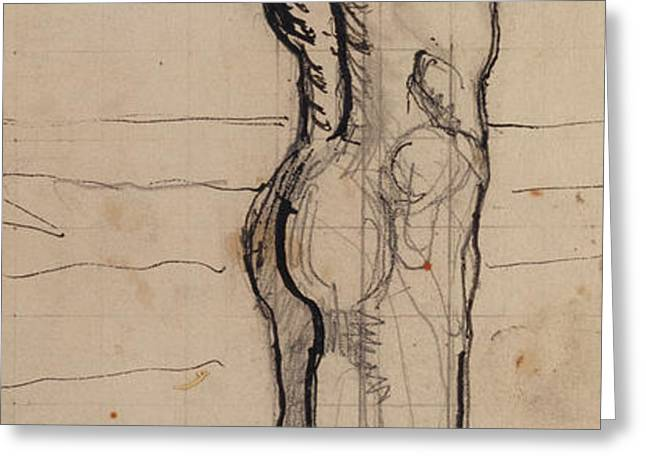Male Act   Study for the Truth Greeting Card by Ferdninand Hodler