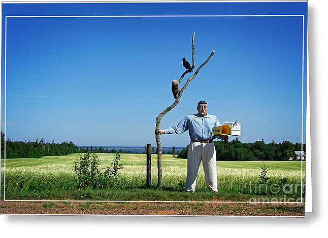 Mail Box Greeting Cards - Male Box Man Greeting Card by Edward Fielding