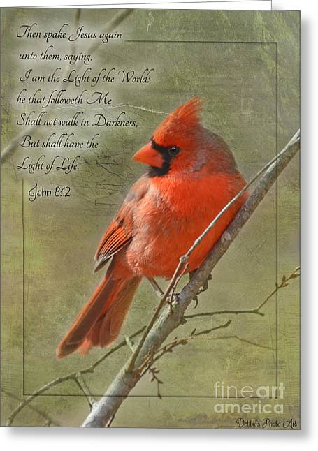Debbie Portwood Greeting Cards - Male Cardinal on twigs with Bible Verse Greeting Card by Debbie Portwood