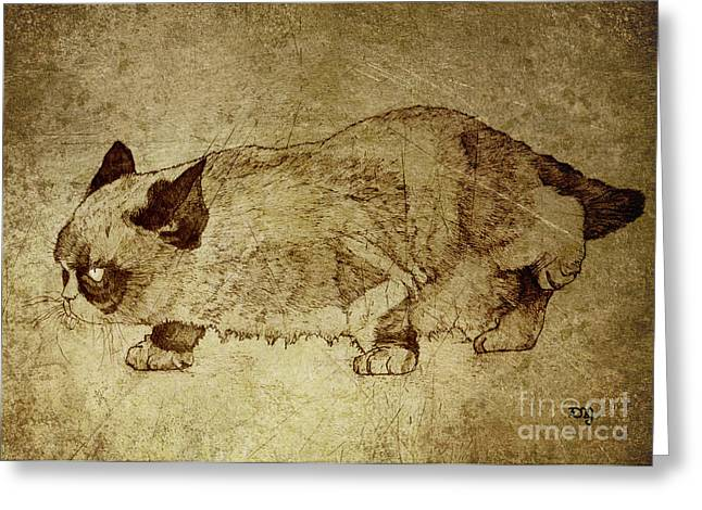 Cute Kitten Drawings Greeting Cards - Male Cat Hunts At Night Greeting Card by Daniel Yakubovich