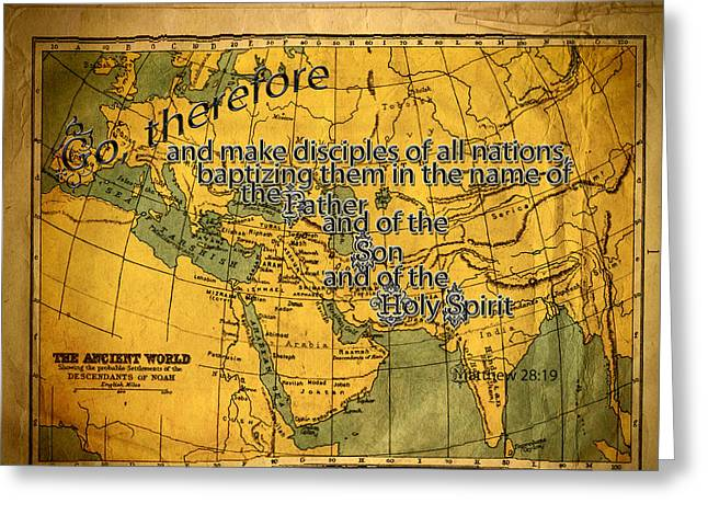 World Map Print Photographs Greeting Cards - Make Disciples Greeting Card by Larry Bishop