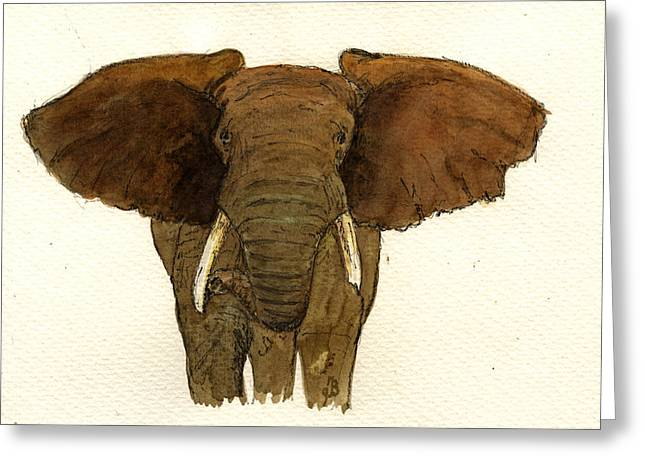 Ivory Greeting Cards - Male elephant Greeting Card by Juan  Bosco