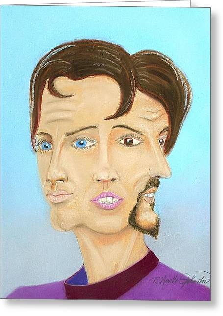 Character Portraits Pastels Greeting Cards - Male Female Other Greeting Card by R Neville Johnston