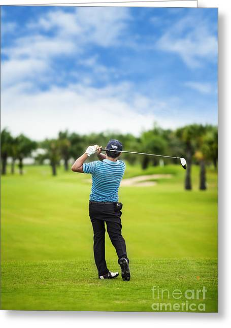 Golfing Photographs Greeting Cards - Male golf player  Greeting Card by Anek Suwannaphoom