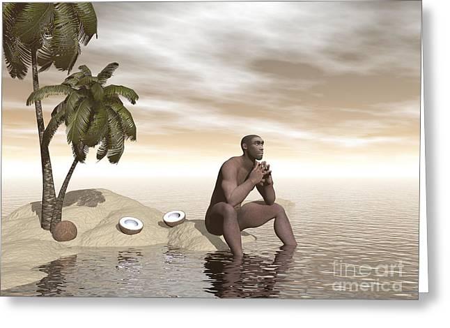 Prehistoric Digital Art Greeting Cards - Male Homo Erectus Sitting Alone Greeting Card by Elena Duvernay