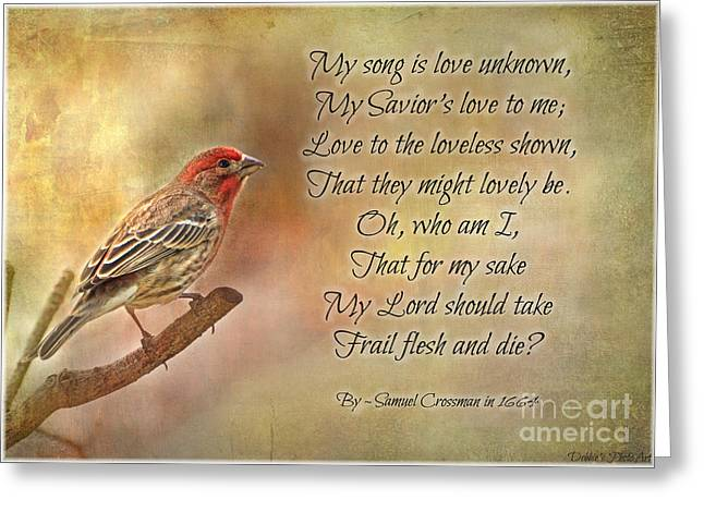 Debbie Portwood Greeting Cards - Male House Finch with Hymn III Greeting Card by Debbie Portwood