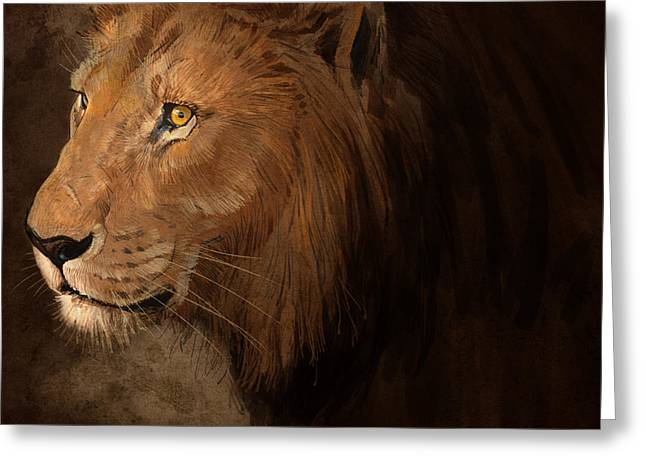 Lions Digital Art Greeting Cards - Male Lion Greeting Card by Aaron Blaise