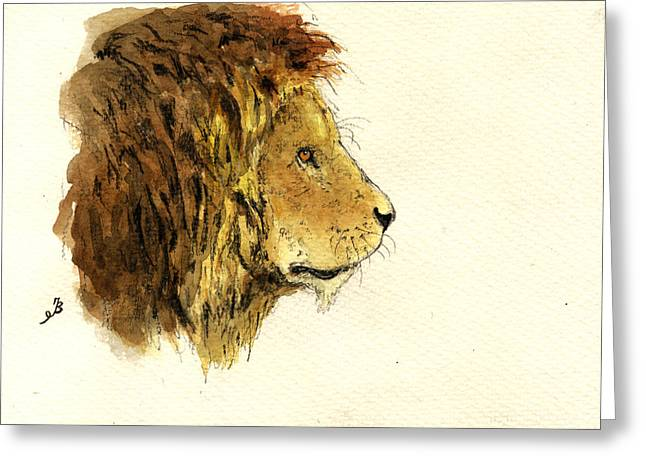 Male Lion Greeting Cards - Male lion head Greeting Card by Juan  Bosco