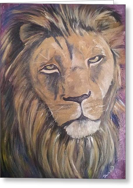 Strength Paintings Greeting Cards - Male Lion Greeting Card by Isabella F Abbie Shores LstAngel Arts