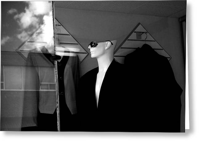 Store Fronts Greeting Cards - Male Mannequin with sunglasses Greeting Card by Randall Nyhof