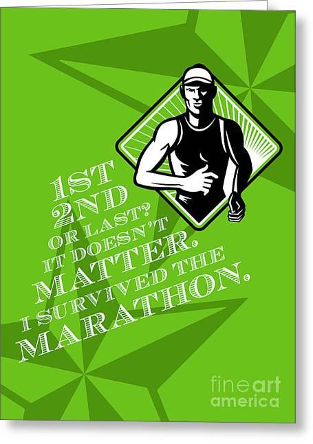 Male Marathon Runner Retro Poster Greeting Card by Aloysius Patrimonio
