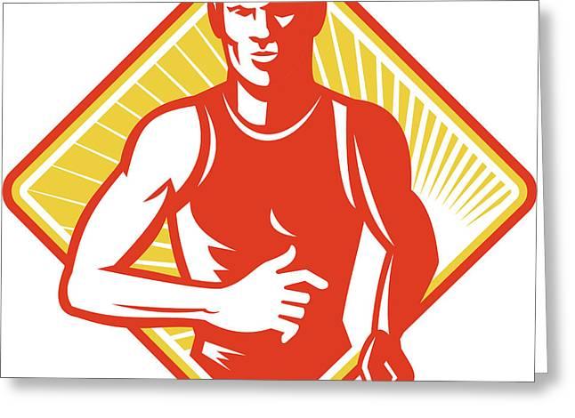 Male Marathon Runner Running Retro Woodcut Greeting Card by Aloysius Patrimonio
