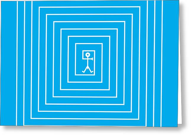 Stylized Paintings Greeting Cards - Male Maze Icon Greeting Card by Thisisnotme