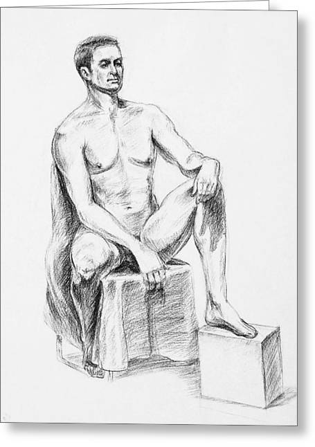 Realistic Drawings Greeting Cards - Male Model Seated Charcoal Study Greeting Card by Irina Sztukowski