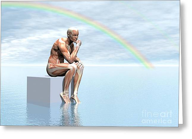 Hand On Chin Greeting Cards - Male Musculature Sitting On A Cube Greeting Card by Elena Duvernay