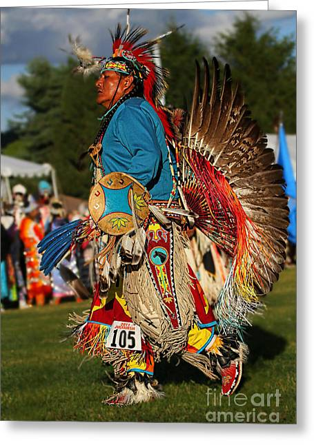 Fancy-dancer Greeting Cards - Male Native Dancer color Greeting Card by Scarlett Images Photography