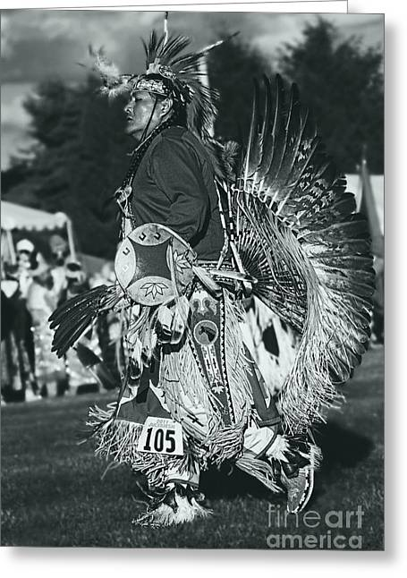 Fancy-dancer Greeting Cards - Male Native Dancer in silver screen Greeting Card by Scarlett Images Photography