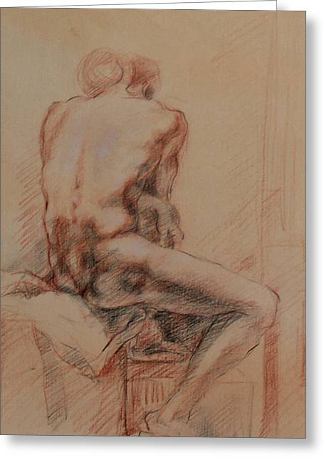 Kim Drawings Greeting Cards - Male Nude 1 Greeting Card by Becky Kim