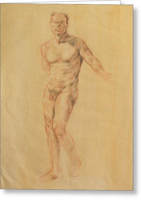 Kim Drawings Greeting Cards - Male Nude 2 Greeting Card by Becky Kim