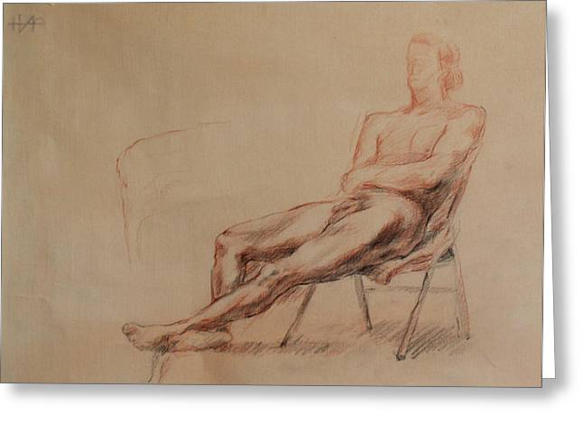 Male Nude 4 Greeting Card by Becky Kim