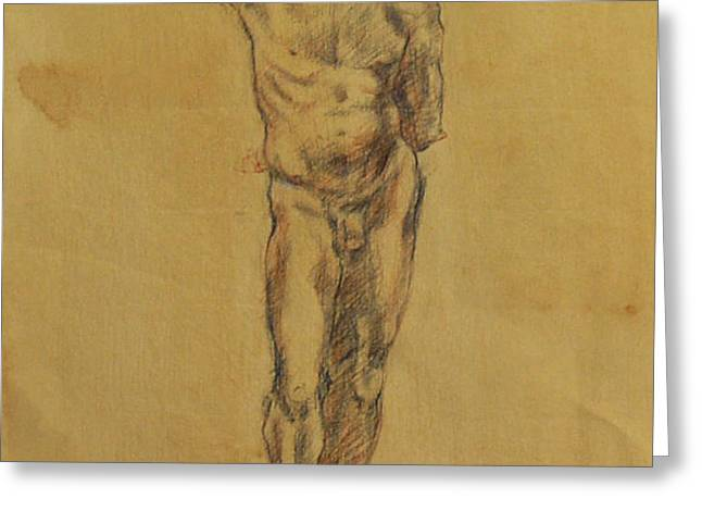 Male Nude 5 Greeting Card by Becky Kim