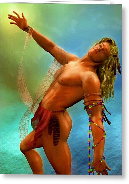 Male Nude Artwork 78 Greeting Card by Michael Vicin