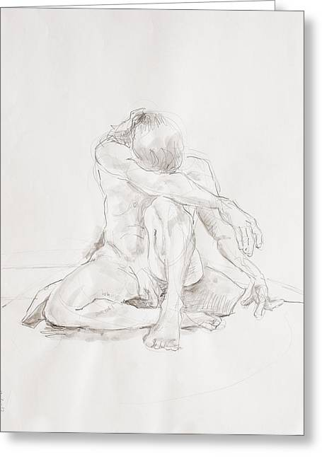 Crosshatching Greeting Cards - Male nude on pillow Greeting Card by Andy Gordon