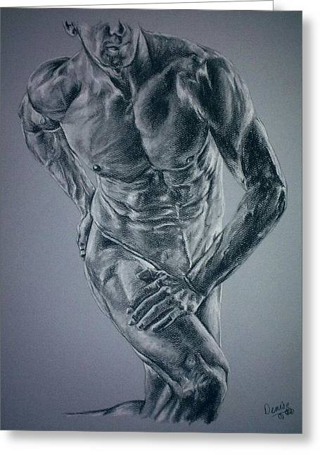 Physique Drawings Greeting Cards - Male Physique In Blues Greeting Card by Denise Thurston Newton