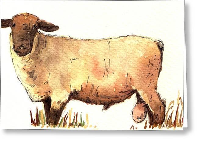 Male Sheep Black Greeting Card by Juan  Bosco